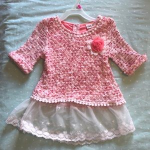 Girls pink sweater with lace trim